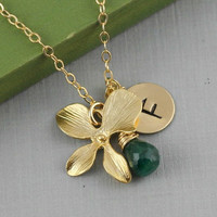 Personalized Orchid Necklace, May Birthstone Emerald, Monogram Necklace, Gold Filled, Initial, Mother Gift, Unique Bridesmaid Gift Ideas