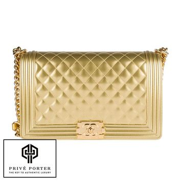 RARE CHANEL GOLD METALLIC COLLECTION NEW MEDIUM A92193 BOY FLAP BAG BNIB