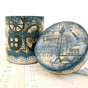 Steampunk Trinket Box - Decoupage Box - Hand Painted Paper Mache Box - Vintage Antique Style Handmade Box - Steampunk Decor Keepsake Box