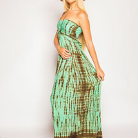 Tiare Hawaii Jasmine Long Dress Spearmint/Brown