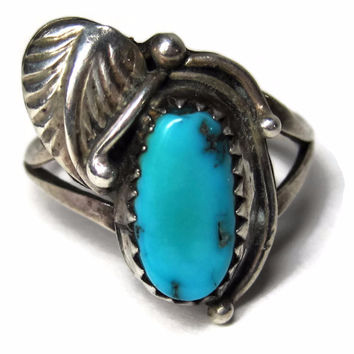 Traditional Vintage Navajo Turquoise Feather Ring Sterling Size 5.5