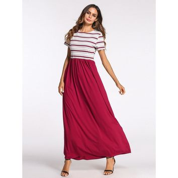 Multicolor Round Neck Striped Maxi Dress