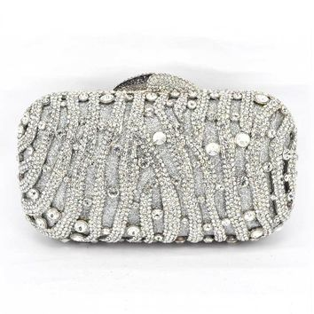 Stylish Red Women Rhinestone Evening Bag Luxury Crystal Studded Diamante Designer Clutches Evening Party Purse Ladies Clutch Bag