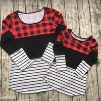 Day-First™ Preorder- Mommy and me buffalo Plaid and stripes top