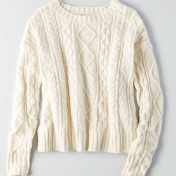 AEO Cropped Cable Pullover, Cream