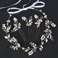 Vintage 4pc Gold Bride Hair Jewelry Simulated Pearl Headband For Wedding Hair Accessories Women Crystal Pearl Hairpins Headdress