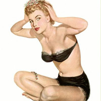 Pin Up Art Blonde In Black Underwear Poster