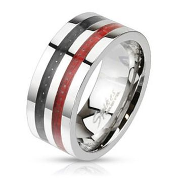 Double Black and Red Carbon Fiber Inlay Wide Band Ring Stainless Steel