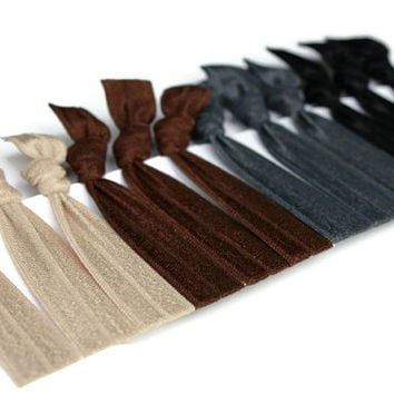 12 Stretchy Headbands - Elastic Ribbon Headbands in Neutral Colors - Beige, Brown, Grey & Black Hairbands - Great for Office or Exercise
