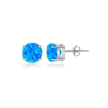 Sterling Silver Created Blue Opal 4mm Round Stud Earrings
