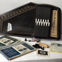 Vintage Oscar Schmidt Autoharp, 36 String 12 Chord, Zither, Original Paperwork, Tuning Wrench, Songbooks and Finger Picks Included