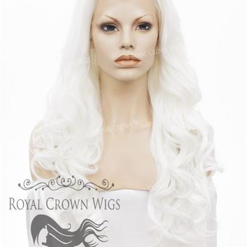 """26"""" Heat Safe Synthetic Lace Front in Curly Texture """"Calypso"""" in White"""