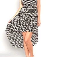 T-Back Geo Print Chiffon Hi & Lo Dress In Black/Cream | Thirteen Vintage