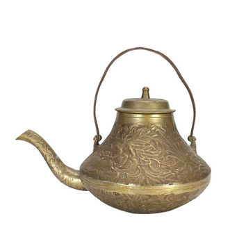 Brass Teapot Coffee Kettle Lid Handle Floral Engraved Ornate Decorative Home Patina Planter Watering Can Shabby Cottage Chic Farmhouse Boho