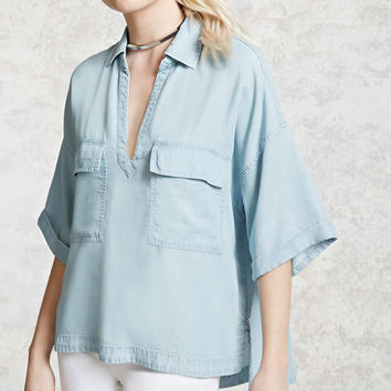 Chambray Split-Neck Shirt