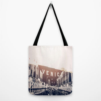 Venice Beach Art Tote Bag Los Angeles California Hollywood Beach Photography Summer Boardwalk
