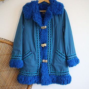 Vintage blue faux Sheepskin vegan afghan Fur collar cuffs 60s 70s penny lane coat jacket M