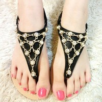 Fashion Rhinestone Chain Overlay Thong Sandal