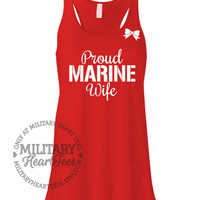 Custom Proud Marine Racerback Tank Top, Military Shirt for Wife, Fiance, Girlfriend, Mom, Sister, Workout