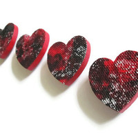 Decorative Heart Magnets Gift Set of 4 in crimson red, black and metallic silver for home and office decor, hand painted wooden hearts