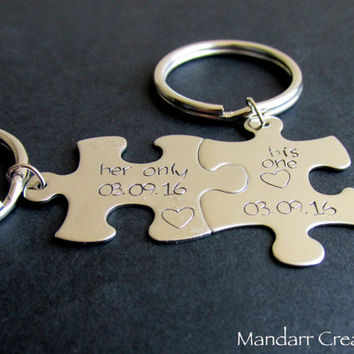 His One Her Only, Couples Keychain, His and Hers, Relationship Accessory, Custom Anniversary Date, Wedding Gift