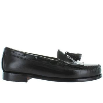 CREYONIG Bass Weejuns Layton - Black Leather Tassel-Kilty Moc Loafer