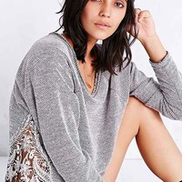 Staring At Stars Distressed Lace-Inset Pullover Sweatshirt- Dark Grey