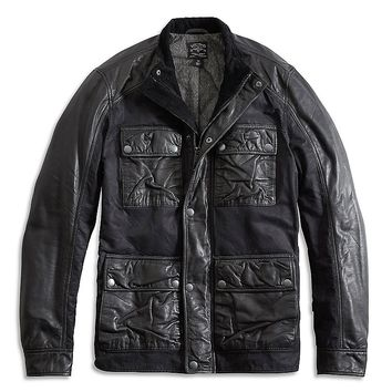 Lucky Brand Leather Wax Mix Jacket Mens - Jet Black