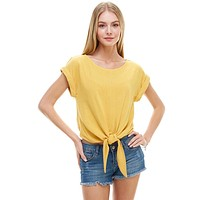 Solid Cuffed Sleeves Tie Front Top