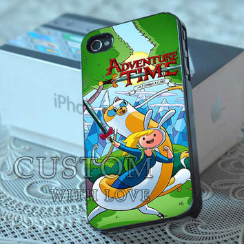 Adventure Time With Fiona And Cake  - Rubber or Plastic Print Custom - iPhone 4/4s, 5 - Samsung S3 i9300, S4 i9500 - iPod 4, 5