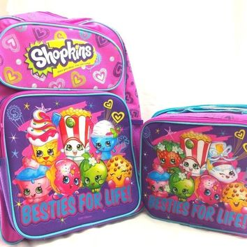 "Shopkins Besties for Life! Girls 16"" School Backpack w/Insulated Lunch Bag"