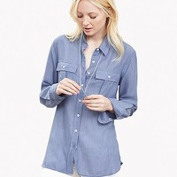 Banana Republic Womens Soft Wash Textured Military Shirt