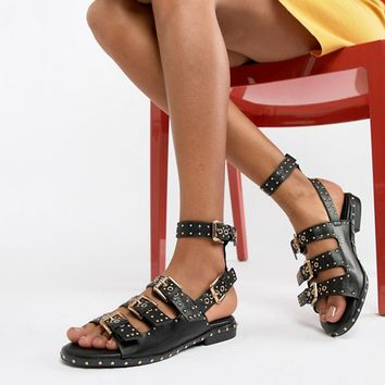 Missguided Studded Buckle Flat Sandals at asos.com