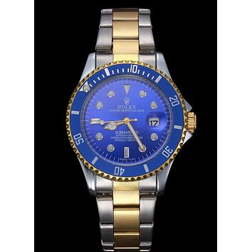Rolex Trending Ladies Men Stylish Beautiful Business Sport Movement Lovers Watch Wrist Watch Silvery Golden Watchband+Blue Watch Dial+Blue Watch Shell I-YY-ZT