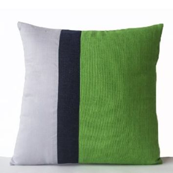 Green Linen Color Block Pillow Covers - Handcrafted Decorative Throw Pillow Covers in Grey, Navy and Green Colorblock Design - Couch Cushion Cover - Gift - Bold Color Pillow Cover - Couch Pillowcases (12x12)