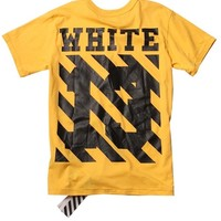 Indie Designs Custom Made Off White Stripes Print T-Shirt