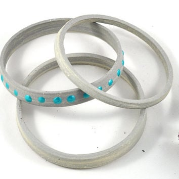 Ceramic Bangle Stack Handmade Jewelry Set of Three Gray White and Turquoise