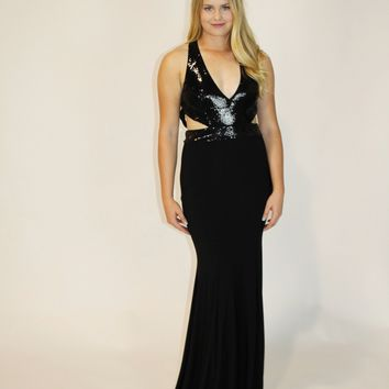 Black Cut Out Sequin Top Gown