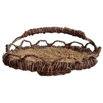 Oval Vetiver Basket with Handle from Haiti