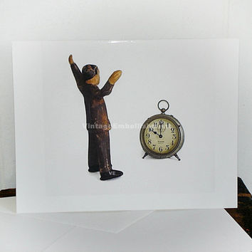 Herbie with Vintage Clock Herbie Note Card Shop VintageEmbellishment