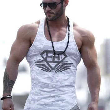 2017 Fitness Men Tank Top Army Camo Camouflage Mens Bodybuilding Stringers Tank Tops Singlet Brand Clothing Sleeveless Shirt