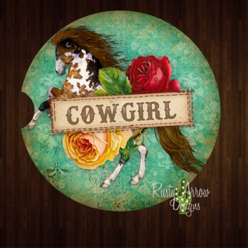 Horses and Cowgirls Sandstone Car Coaster