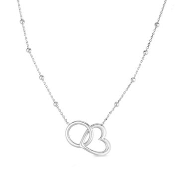 Sterling Silver Circle And Heart Pendants Necklace, 18""