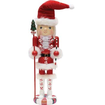 "15"" Peppermint Twist Red White and Green Decorative Wooden Mrs. Claus Christmas Nutcracker"