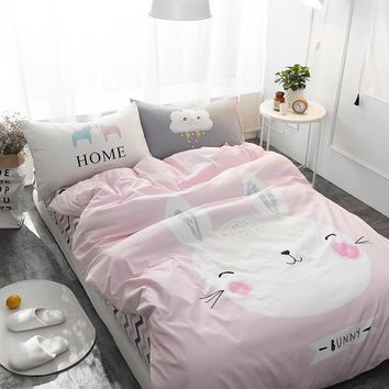 100% Cotton Cute Home Rabbit Printed Bedding Set Kids Gray Bedspread Duvet Cover Set Comfortable Bed Set with Flat Sheet 4Pcs