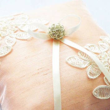 wedding ring pillow powder color silk embellished ivory lace with pearls ribbon rhinestone swarovski embellishment beach wedding gift ideas