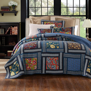 DaDa Bedding Bohemian Midnight Ocean Blue Sea Reversible Floral Real Patchwork Print Quilted Bedspread Set - Multi-Color -  2-3-Pieces