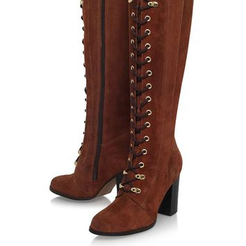 **Wander Rust High Heel Lace Up Knee Boot By Carvela - Sale & Offers