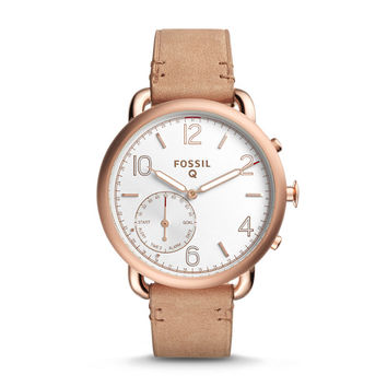 Q Tailor Hybrid Light Brown Leather Smartwatch - $195.00