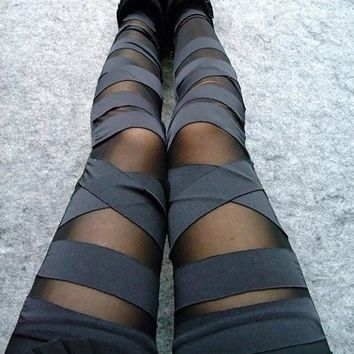 2017 new sexy fashion women summer legging see through stripe cross tie up nine points women leggings thin slim bandage leggings